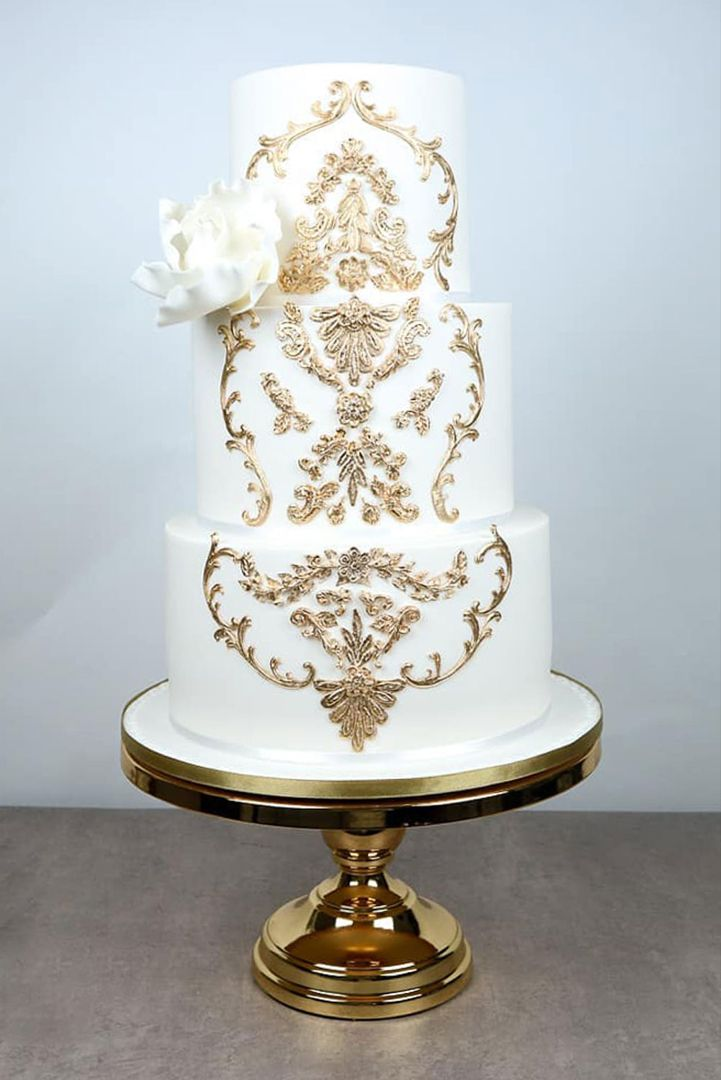 12 Inch Shiny Metallic Mirror Top Cake Stand Gold Plated In 2020
