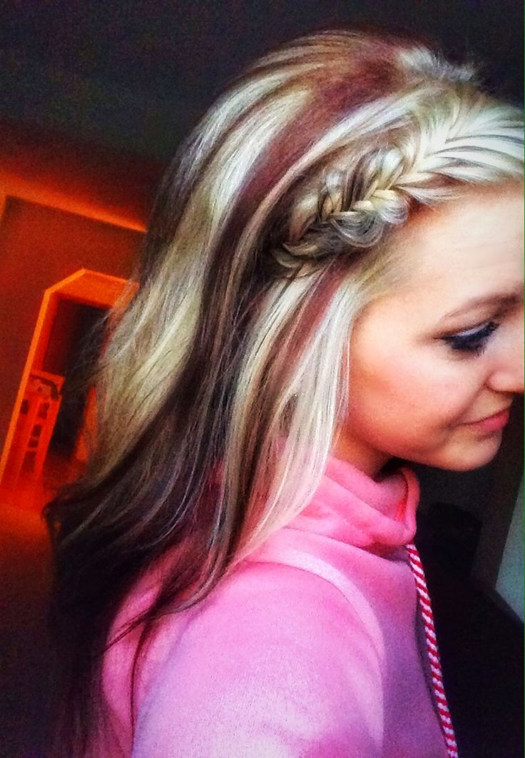 Red and blonde hair, hairstyles, French fishtail braid