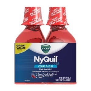 Vicks 44 Nyquil Cold and Flu Relief Liquid, Cherry, 24 Ounce by Vicks. $14.66. Nyquil liquid is available in three flavors original, cherry and vanilla cherry swirl. When using Dayquil or Nyquil products, carefully read each label to insure correct dosing use as directed keep out of reach of children. Temporarily relieves common cold and flu symptoms including cough due to minor throat and bronchial irritation, sore throat, headache, minor aches and pains, fever, runny...