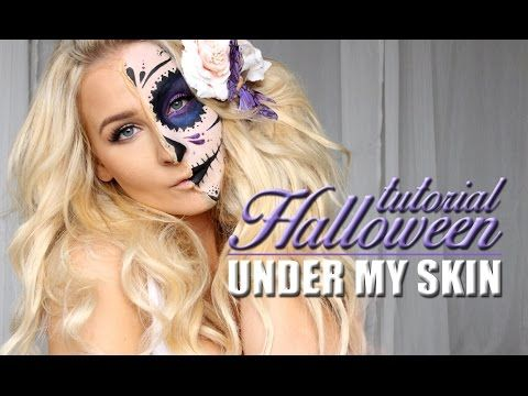 """HALLOWEEN TUTORIAL – HALF SUGAR SKULL """"under my skin"""" MAKEUP   Helen Torsgården – Hiilens sminkblogg"""