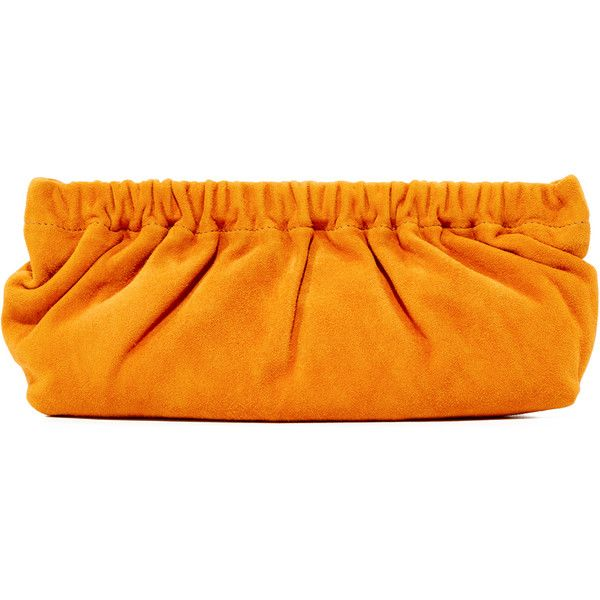 Rachel Comey Soo Clutch ($120) ❤ liked on Polyvore featuring bags, handbags, clutches, goldenrod, orange clutches, genuine leather handbags, leather handbags, real leather handbags and orange leather handbag
