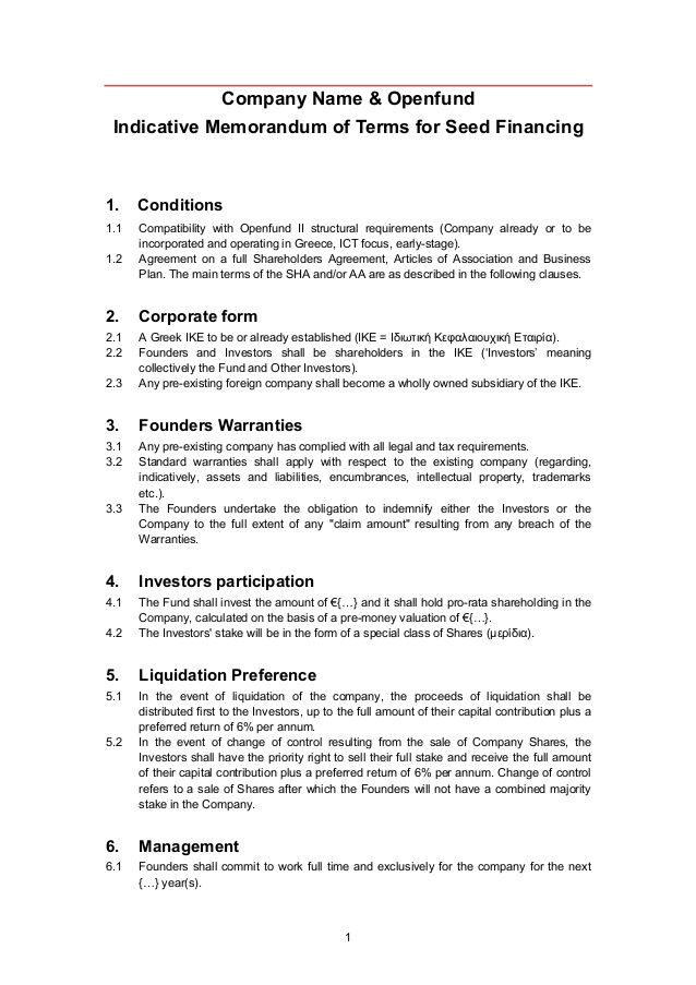 Company Name & Openfund Indicative Memorandum of Terms for Seed Financing1.    Conditions1.1   Compatibility with Openfund...