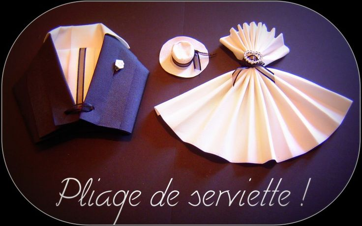 Robe et smocking pliage serviettes origami pinterest mariage smocks - Pliage de serviette original ...