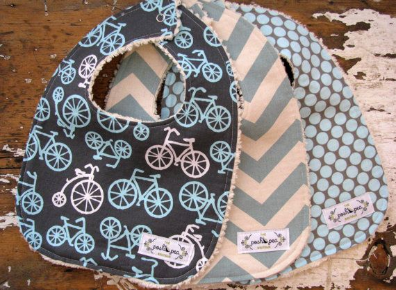 Baby Bibs for Baby Boy  Bikes on Grey by theposhpeaboutique, $30.00