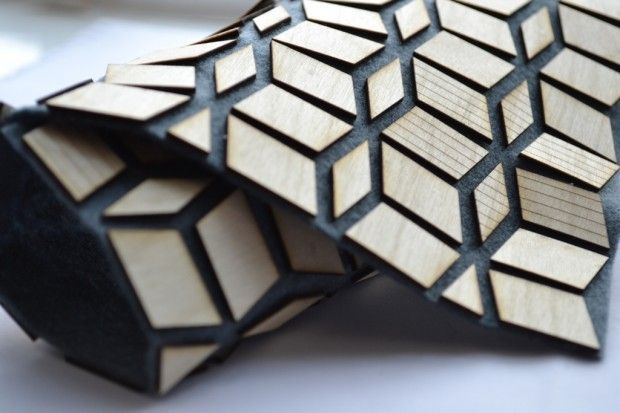 Geometric Textiles Design - flexible wooden fabric with felt base & laser cut wood for pattern & texture // Laura Krumina