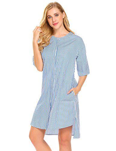 Bulges Women Sleepwear Short Sleeve Pajama Button Down Sleep Shirt Dress 5ac3ad8dd