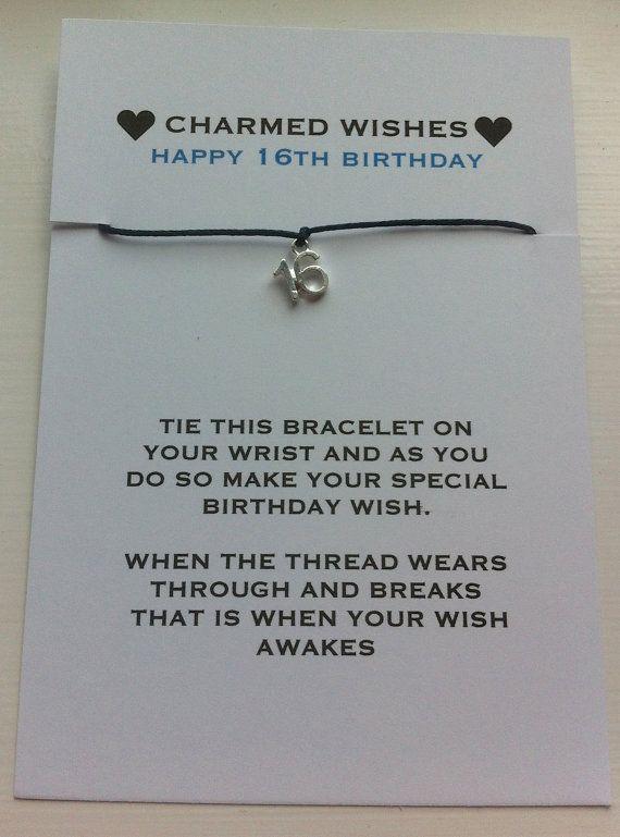 16th birthday bracelet | wish bracelet | friendship bracelet | Gift for 16th | sweet sixteen | 16th birthday card | 16th birthday gift
