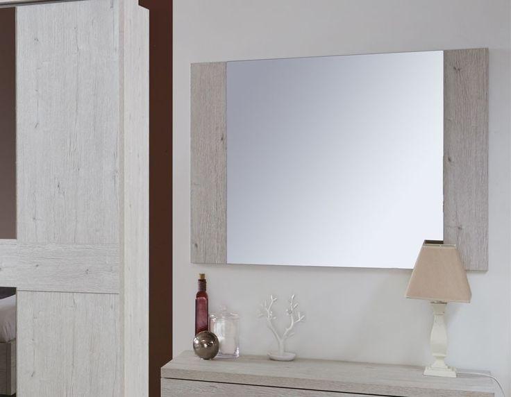 Miroir contemporain couleur bois blanc DIANE