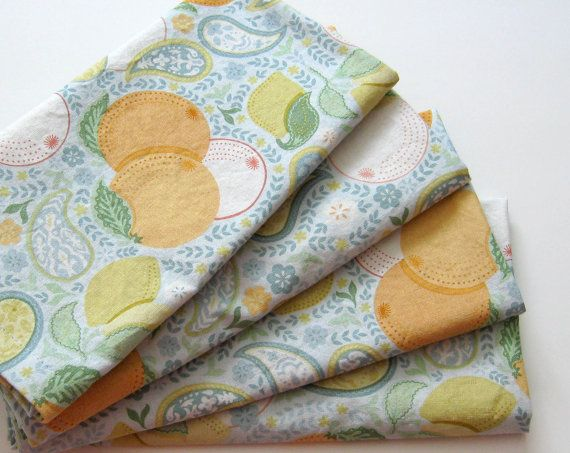 Cloth Napkins  Set of 4  Oranges and Lemons  Large by ClearSkyHome, $18.00