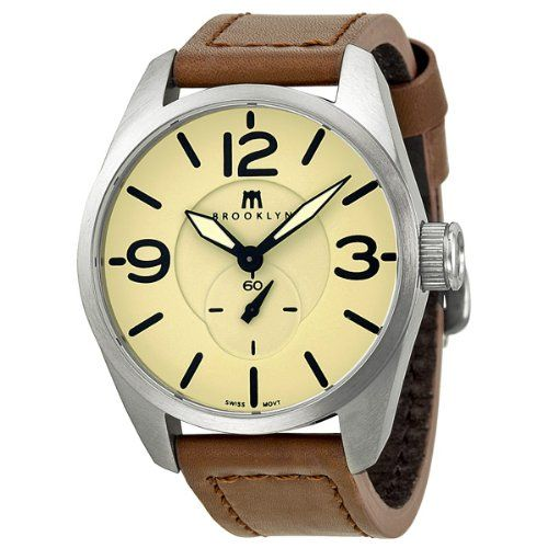 Brooklyn Watch Company Lafayette Tan Dial Brown Leather Swiss Quartz Mens Watch CLA-G: Watches: Amazon.com