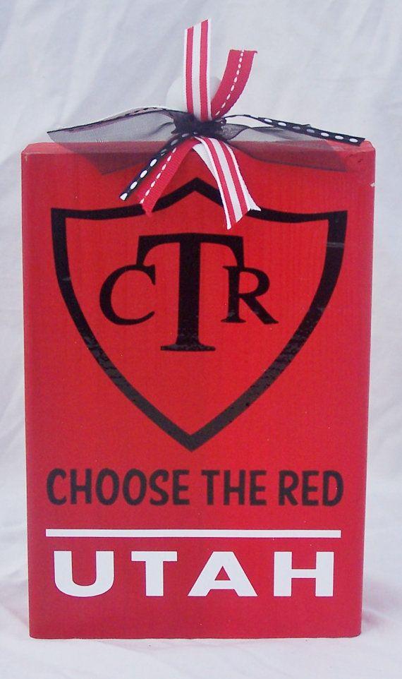 Choose the Red Utah Utes Wood Sign by WordArtTreasures on Etsy, $12.00