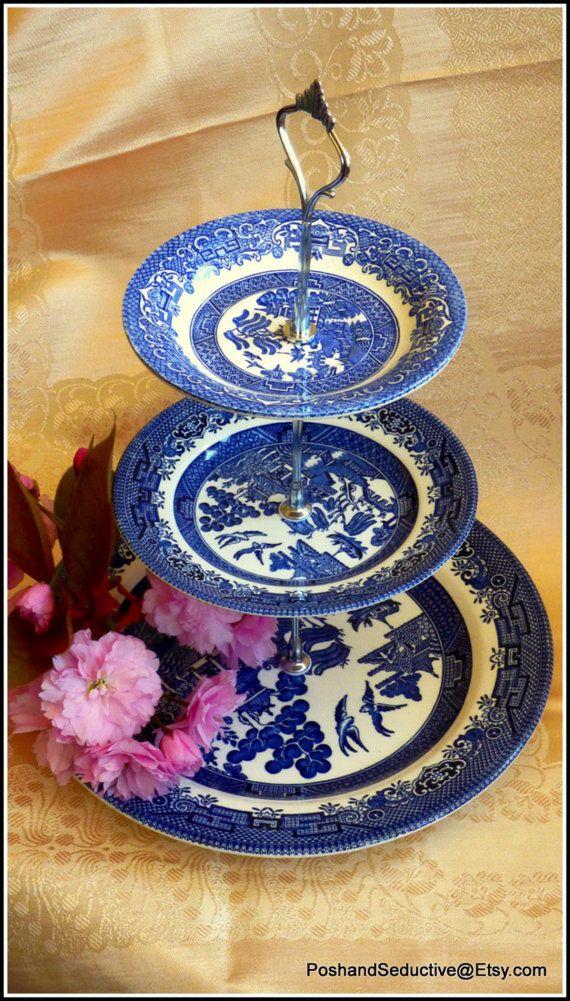 Churchill Blue Willow handmade cake stand by PoshandSeductive