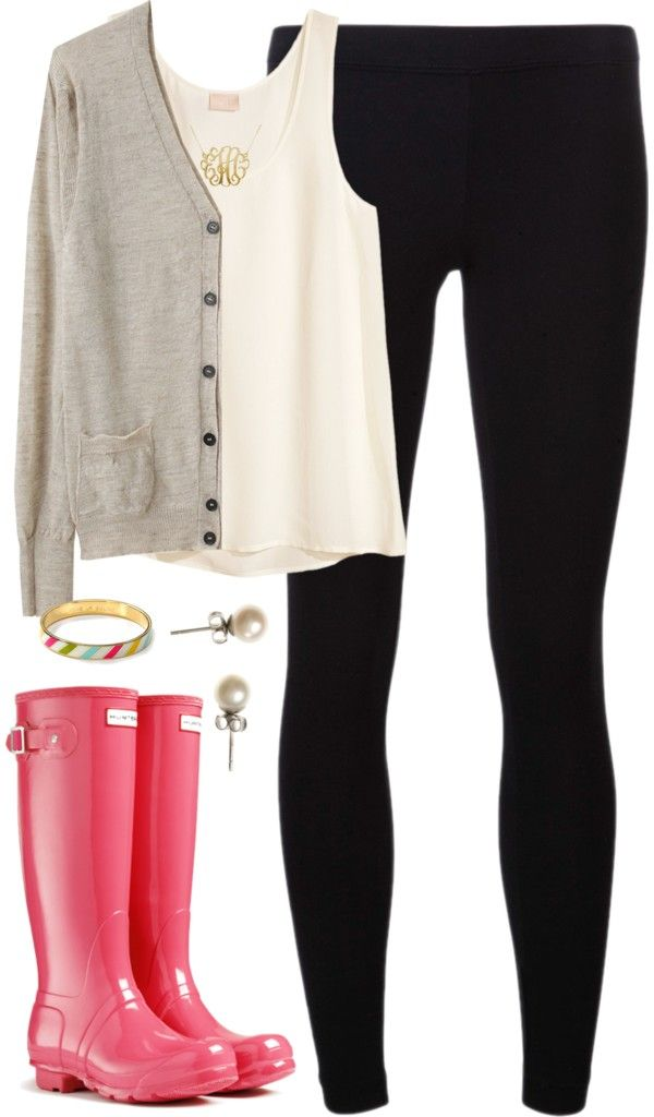Rain, Rain by classically-preppy featuring a brown v neck cardigan  liked on Polyvoretoile Isabel Marant brown v neck cardigan / HM white silk tank, $40 / James Perse legging / Kate Spade engraved jewelry / J.Crew pearl stud earrings / Gold plated monogram necklace / Original Tall Gloss Rain Boots