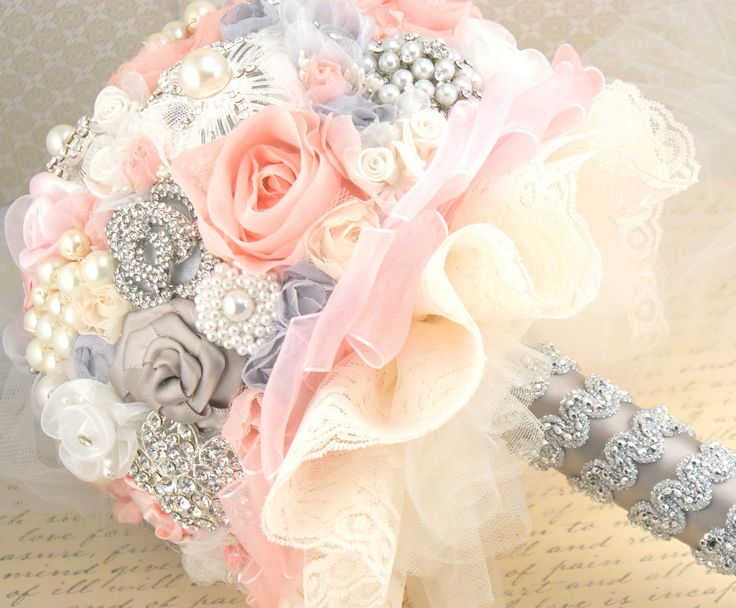 Brooch Bouquet Jeweled Wedding Bouquet Blush Pink , Gray and Ivory- Blush Princess. $350.00, via Etsy.
