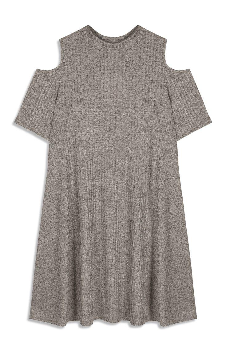 Primark - Graues, weites, schulterfreies Kleid