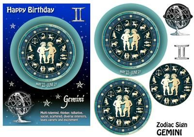 Zodiac Sign Gemini Aqua on Craftsuprint designed by Maria Christina Vieira  - 5x7 Zodiac sign Birthday card front with Pyramage layers .If you cant find a suitable Birthday card...you cant go wrong with a Zodiac sign card! - Now available for download!