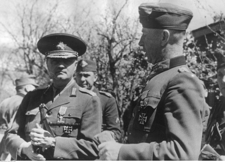 Ministro de Guerra rumano Constantin Pantazi y el General Maximilian de Angelis - Kuban, 1943.