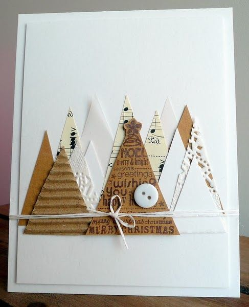 handmade Christmas card from Blog Blom ... a forest of triangle trees cut from scrap papers ... sheet music ... cake doilies ... vellum ... corrugated box .. vellum ... cardstock ... like the top tree in kraft with stamped Christmas sentiments in brown ... fun card!!: