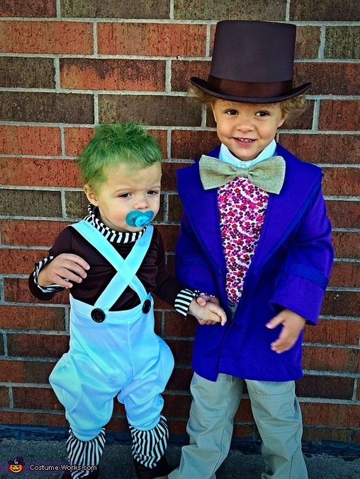Katie: My son Finley is in a homemade Willy Wonka costume. And his brother Lochlan is an Oompa Loompa!! Finley's hair is just so awesome and curly, and one day i...
