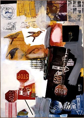 "Robert Rauschenberg  ""In the 1960s Robert Rauschenberg and many artists associated with Pop art also used collage extensively to reflect the omnipresence of the printed word and image in modern society, as well as Richard Hamilton, who continued to apply paper and objets trouvés in his works."""