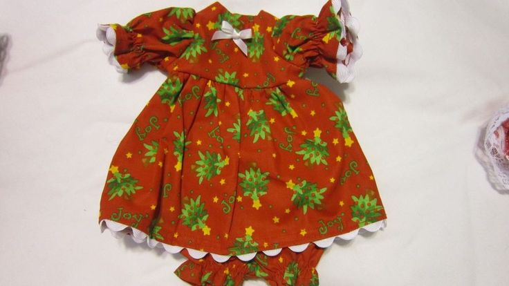 """Red w/ Green Trees Christmas Print Dress/bloomers, fits 15"""" My Friend Dolls #KindredHeartsDesigns"""