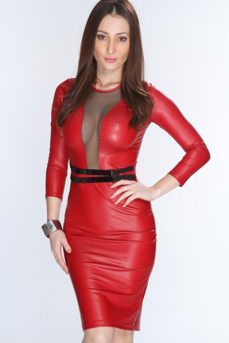 sexy red leather dress photo