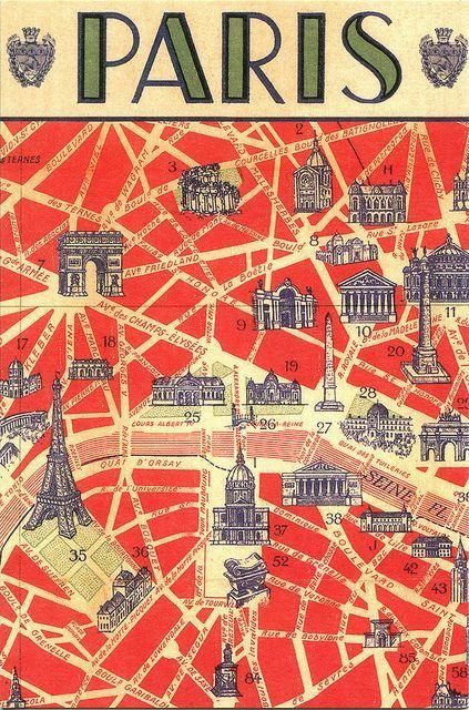 Paris postcard map