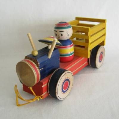 Yajiro Traditional Truck Pull Toy w/Tops   Kyoto Traditions