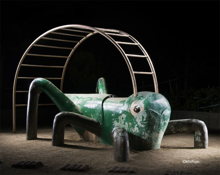 Photographer Kito Fujio traveled across his country to document playgrounds at night.