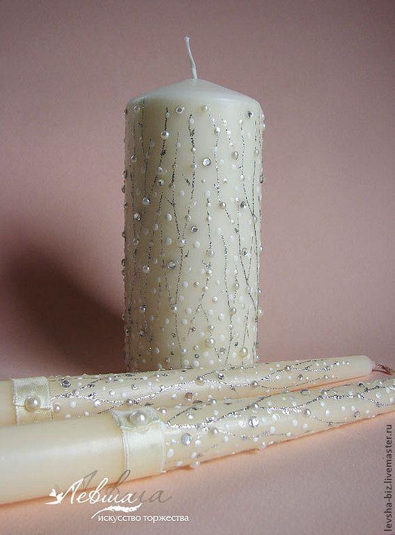 """Купить Свадебные свечи """"Февраль"""" - серебряный, свадебные свечи, Свечи, свечи на свадьбу"""