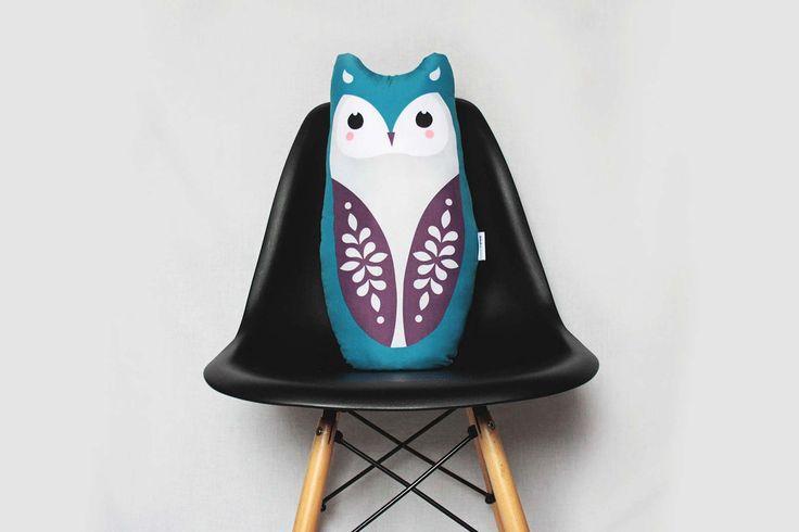 OWL big, soft stuffed cushion #cushion #pillow #toy #baby #kidsroom #owl #illustration #design #cute #animal #design #nursery