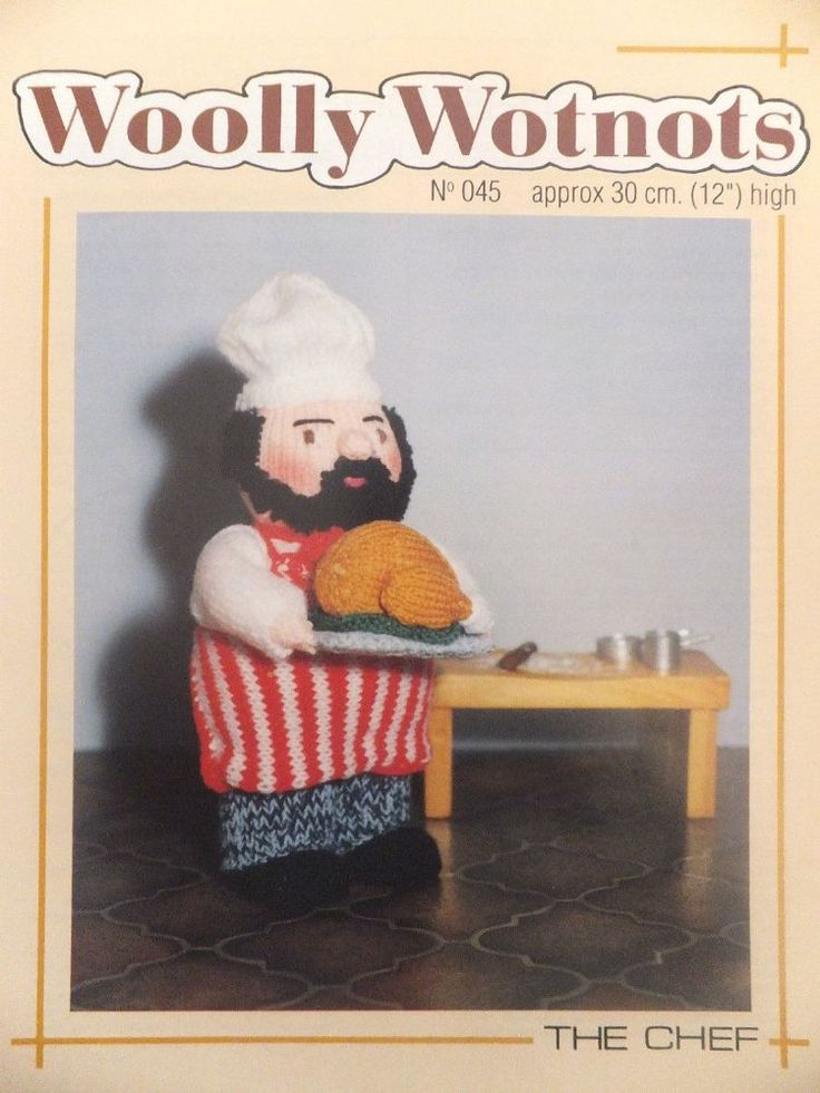 PDF Digital Vintage Woolly Wotnots Knitting Pattern The Chef or Cook Doll Toy 12 Double Knitting £1