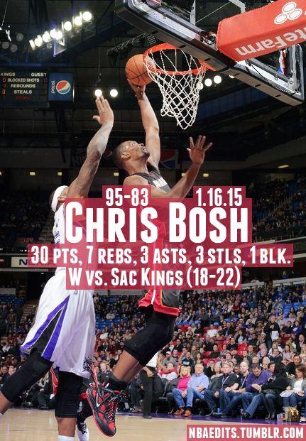 Chris Bosh - 1.16.15 - W vs. Sacramento Kings - http://nbafunnymeme.com/nba-best-players-of-the-day/chris-bosh-1-16-15-w-vs-sacramento-kings