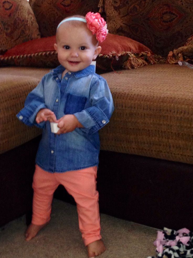 Jean shirt and coral babygap skinny jeans