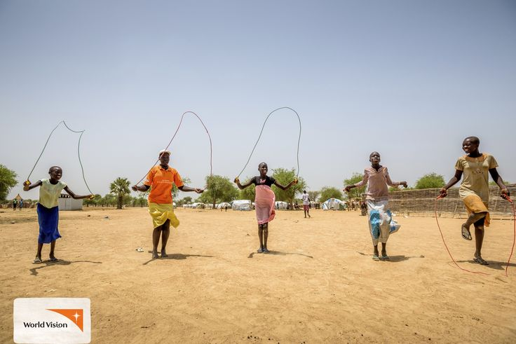 Children play #games, colour in, skip rope and play football in a Child Friendly Space started by #WorldVision in #SouthSudan! Photo by Jon Warren, World Vision