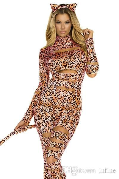 Wholesale Sexy Costumes - Buy 2014 New Adult Sexy Leopard Cat Girl Costume For Womens S8805 Animal Print Long Sleeve Halloween Cosplay Kitty Cat Bodysuit Catsuit Jumpsuit, $26.5 | DHgate