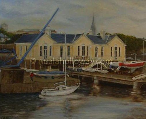 """""""National Yacht Club - Dun Laoghaire"""" (1998) by Nuala Holloway - Oil on Canvas #DunLaoghaire #YachtClub #Maritime #IrishArt"""