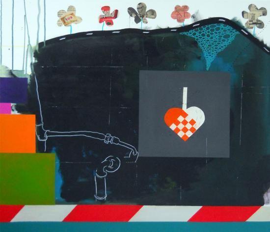 Uden Titel #2 - 100 x 90. Et maleri af Pernille Hauge Reitz. Et gammelt julehjerte er limet på billedet og en kat er syet hen over hjertet... Collagerne øverst er fra Alt For Damerne i 1950´erne.. - Maleri, Uden Titel #2 - Kunstner, Kunstmaler, Pernille Hauge Reitz - Abstrakt, Botanisk, Grafisk, Humor, Malerier til salg - Online Kunst Galleri ARTUNIKA - Farver: Sort, Rød, Turkis, Hvid,  -  Akryl,  Lærred,  Tusch,  Andet Medie,