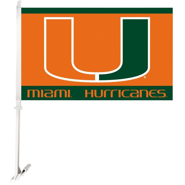 Ncaa 11 in. x 18 in. Miami 2-Sided Car Flag with 1-1/2 ft. Plastic Flagpole (Set of 2)