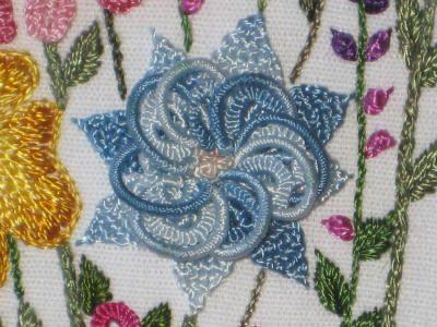 Blue Flower in Brazilian Embroidery