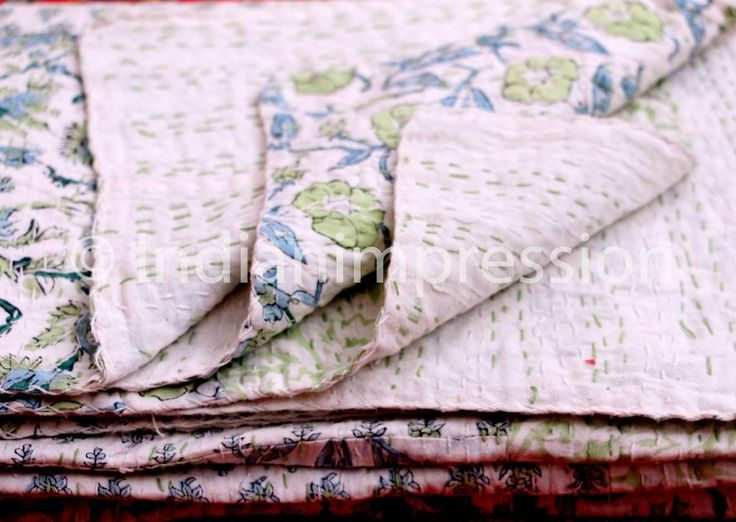 Indian Tribal Multi Patch Kantha Quilt Twin Bedspread Vintage Throw Blanket Rug