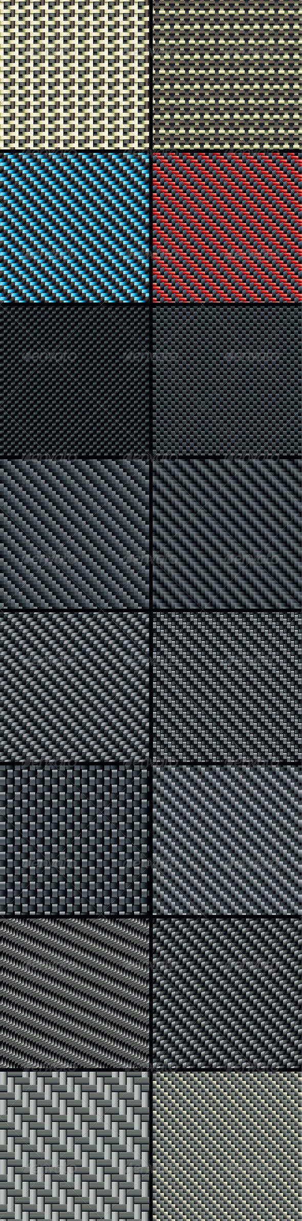 Carbon, Kevlar and Decorative Fabric - Set Four #GraphicRiver Set of Sixteen…
