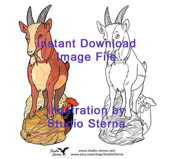 Ziege Lesezeichen Zeichnung digital download Bild Datei drucken schneiden Buch stock Line Art bunt Tier Huhn Bauernhof Heu