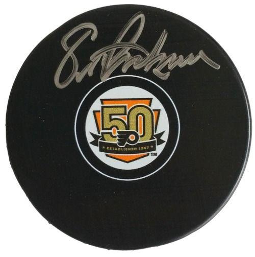Eric Lindros Signed Philadelphia Flyers 50th Anniversary Logo Puck JSA