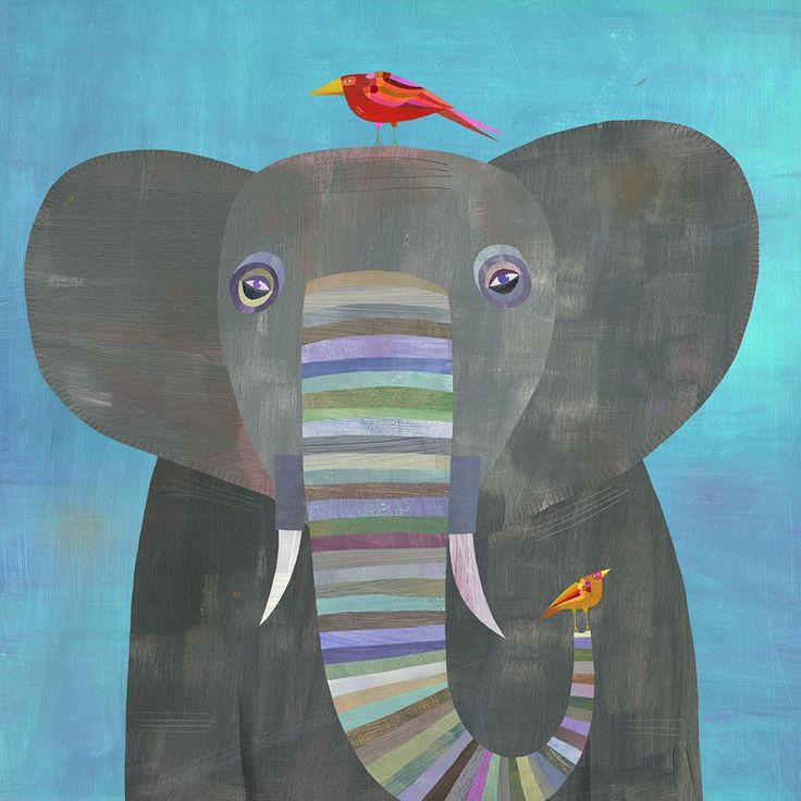 Colorful Elephant canvas wall art from Oopsy Daisy, Fine Art for Kids. Size 10''x10'' for $49. Multiple sizes and additional framing options available.