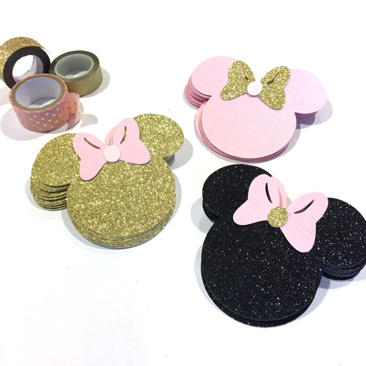 Pink and Gold Minnie Mouse, Paper Cutouts, Scrapbooking, Party Decorations, Pink and Gold, gold and pink minnie mouse party by GreatCrafternoon on Etsy https://www.etsy.com/listing/285780363/pink-and-gold-minnie-mouse-paper-cutouts