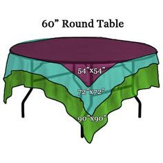 Square Tablecloth sizes on 60 inch Round Table and other linen sizing tips