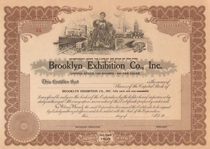 Brooklyn Exhibition Company 1926 stock certificate - Ebbets Field boxing and football