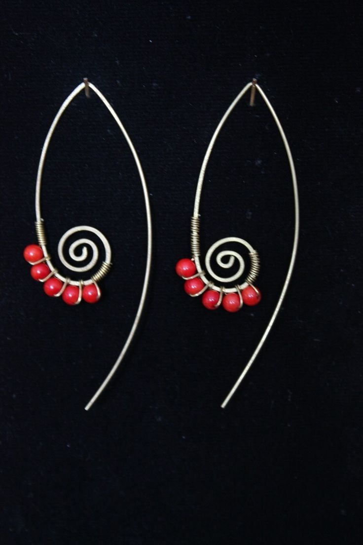 Red coral swirl leave earring. $15.00, via Etsy.