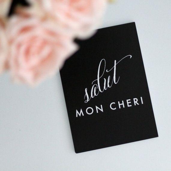 SALUT MON CHERI // translation hello my love print // by kardzkouture www.kardzkouture.com